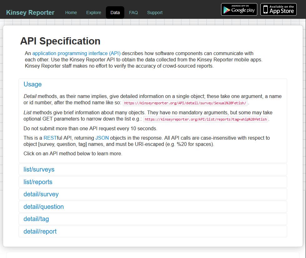 Kinsey Reporter API