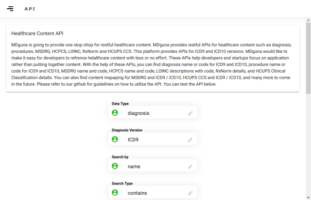 Mdguna Healthcare Content API