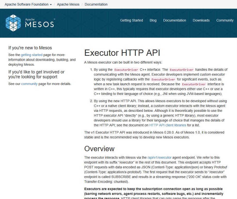 Apache Mesos Executor HTTP API
