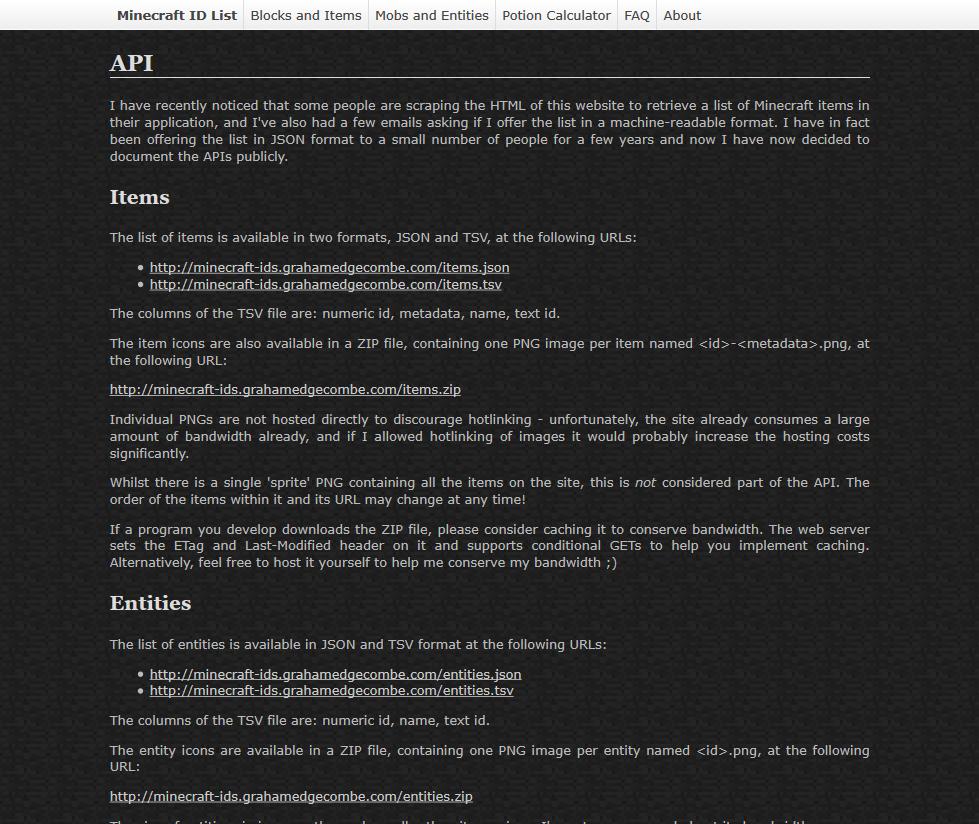 Minecraft ID List API