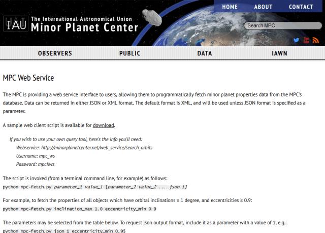 Minor Planet Center Mpc API