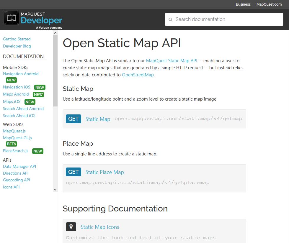 MapQuest Open Static Map API