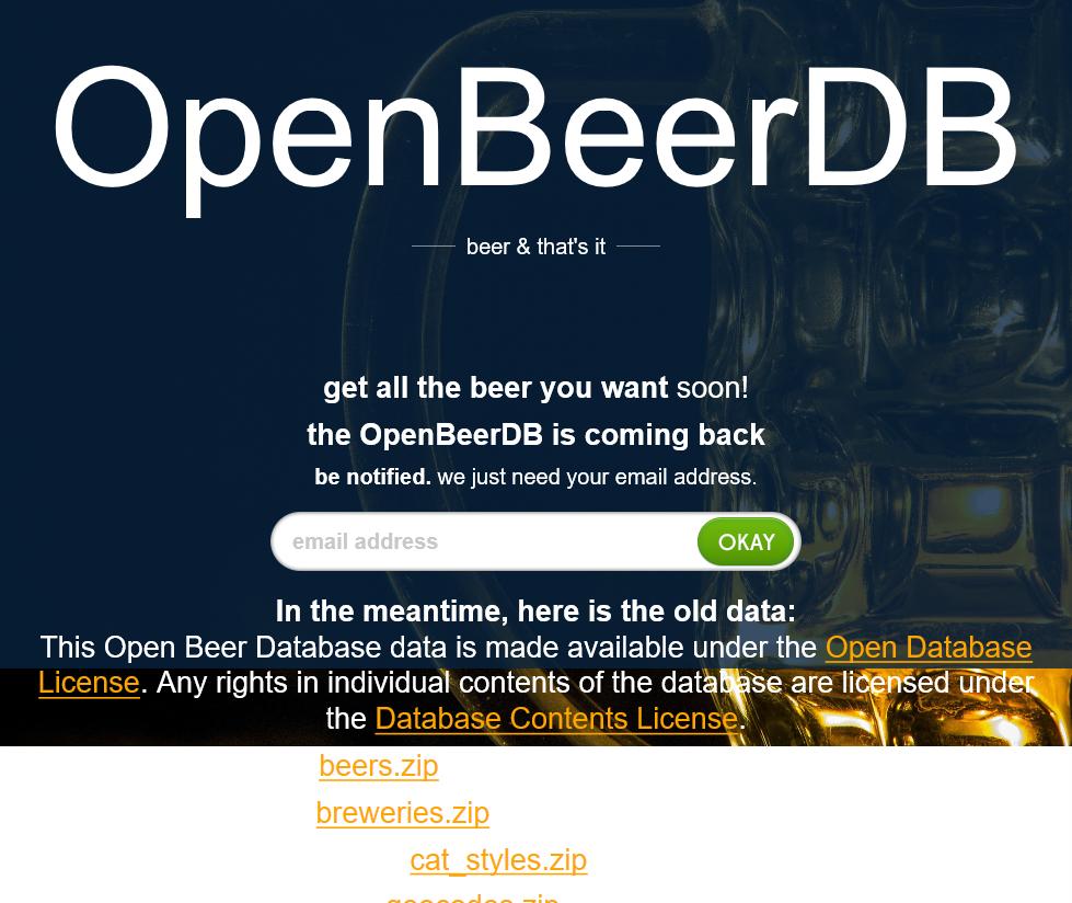 Open Beer Database API