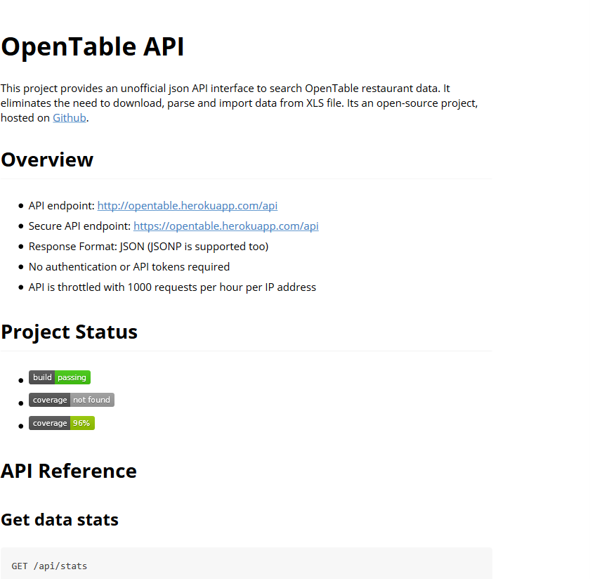 Unofficial OpenTable API