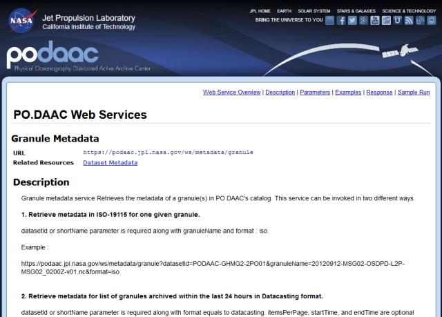Nasa Podaac Granules Metadata API