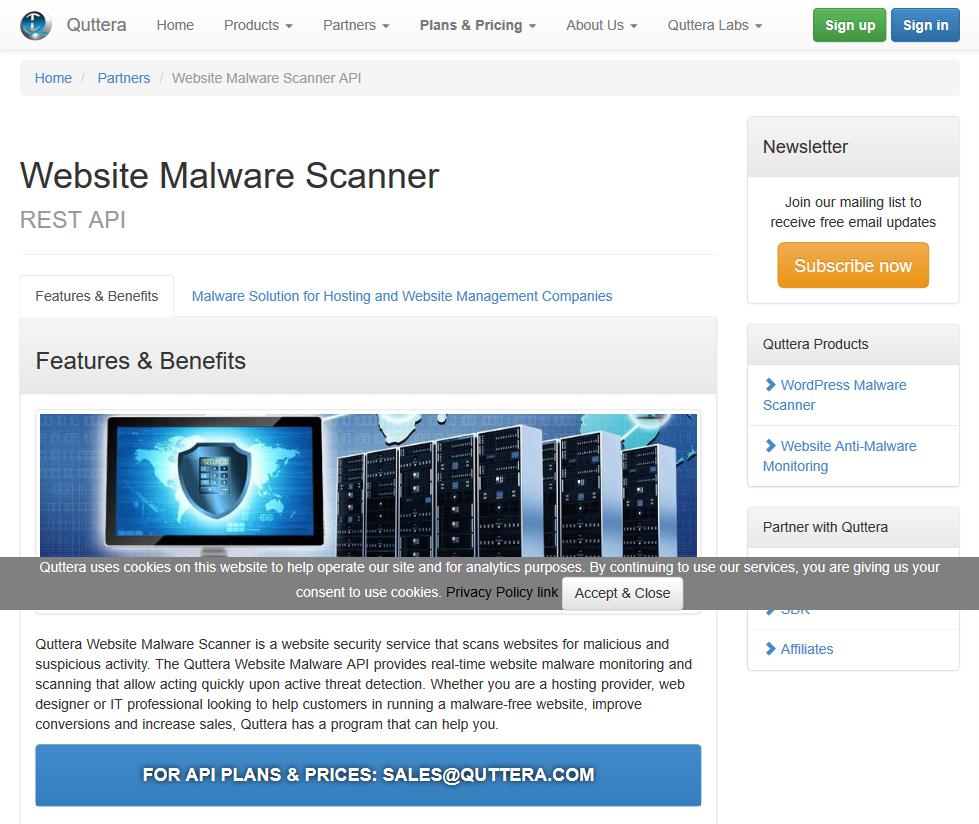 Quttera Website Malware Scanner API