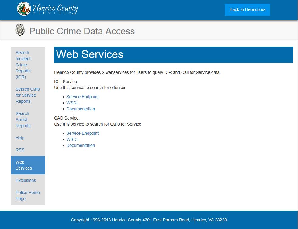 Henrico County Public Crime Data Access API