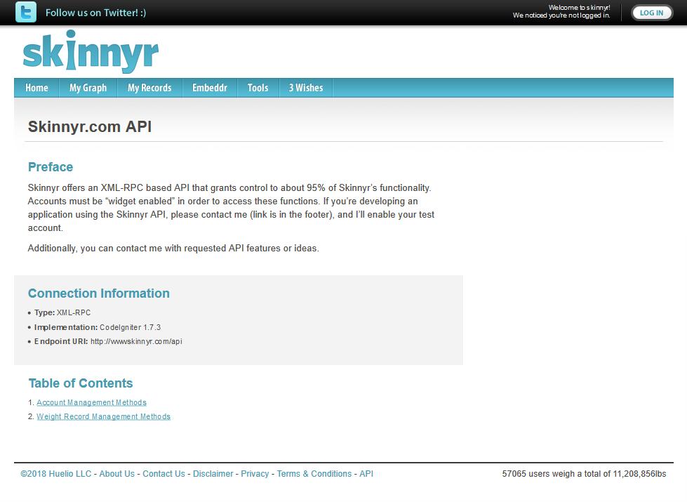Skinnyr API