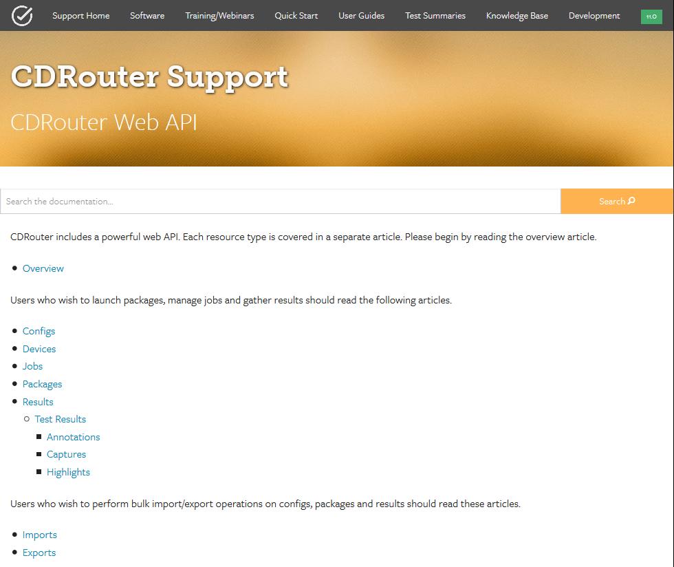 QA Cafe CDRouter Web API