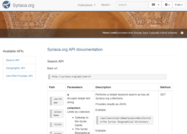 Syriacaorg Search API
