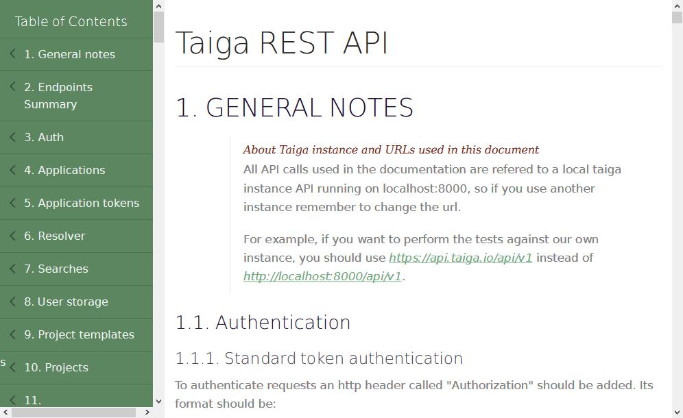Taiga REST API