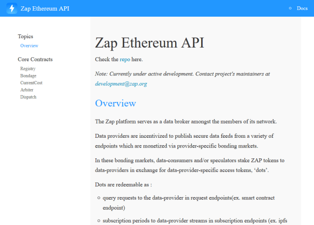 Zap Ethereum API