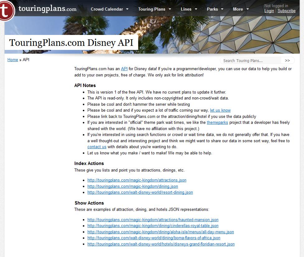 TouringPlans Disney API