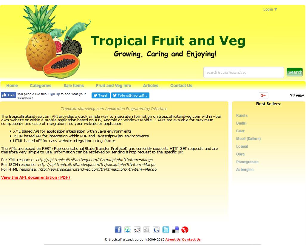 tropicalfruitandveg API