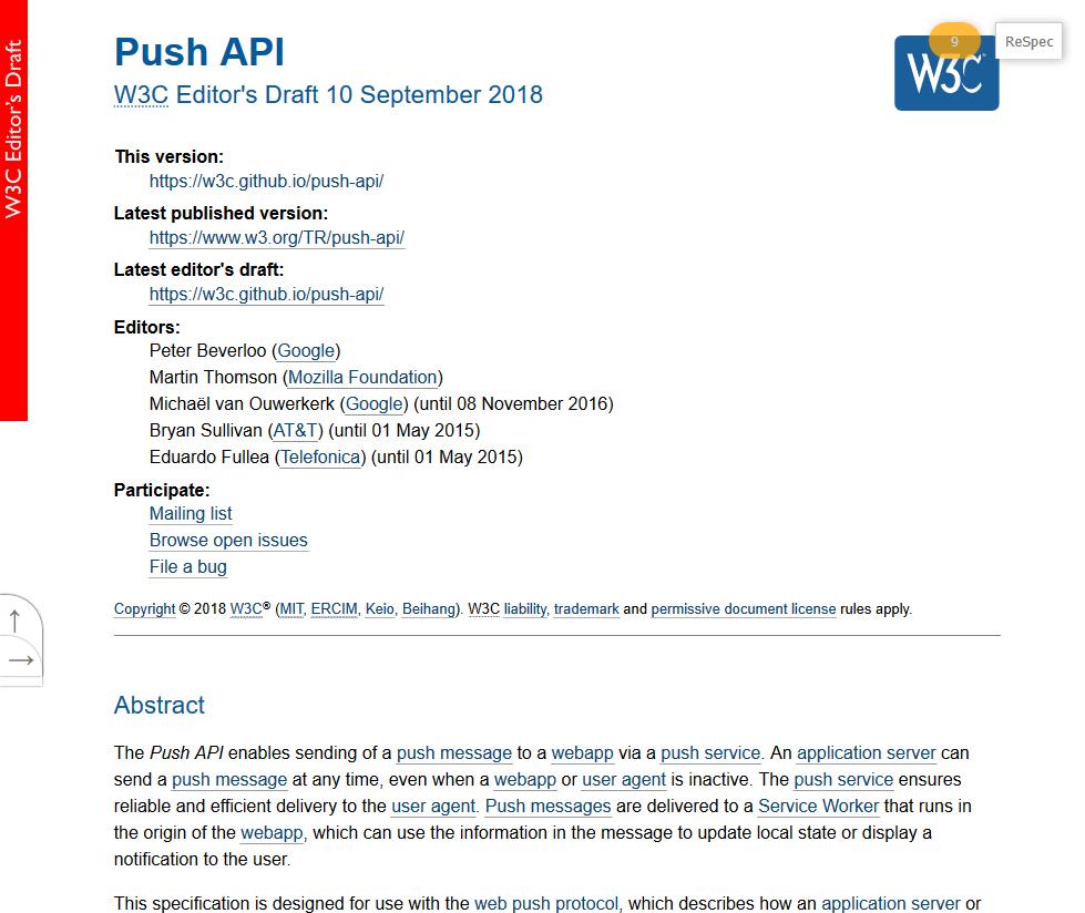 W3C Push API