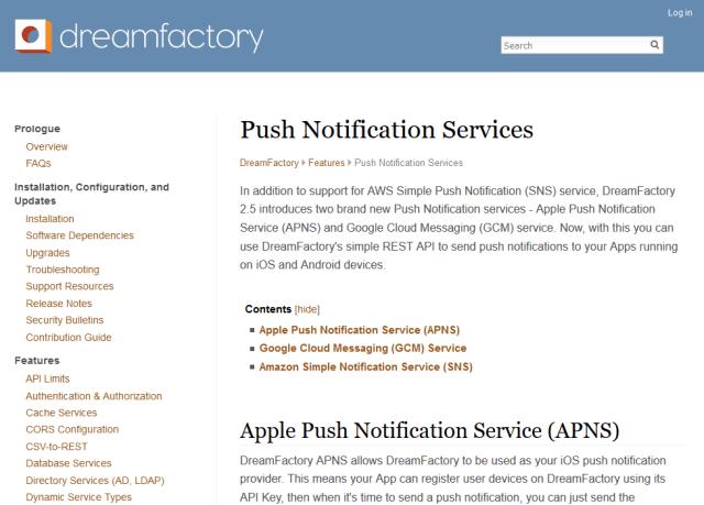 Dreamfactory Push API