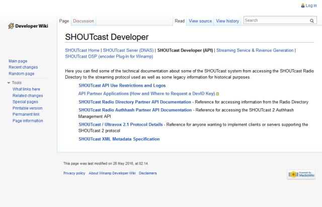 Shoutcast Radio API