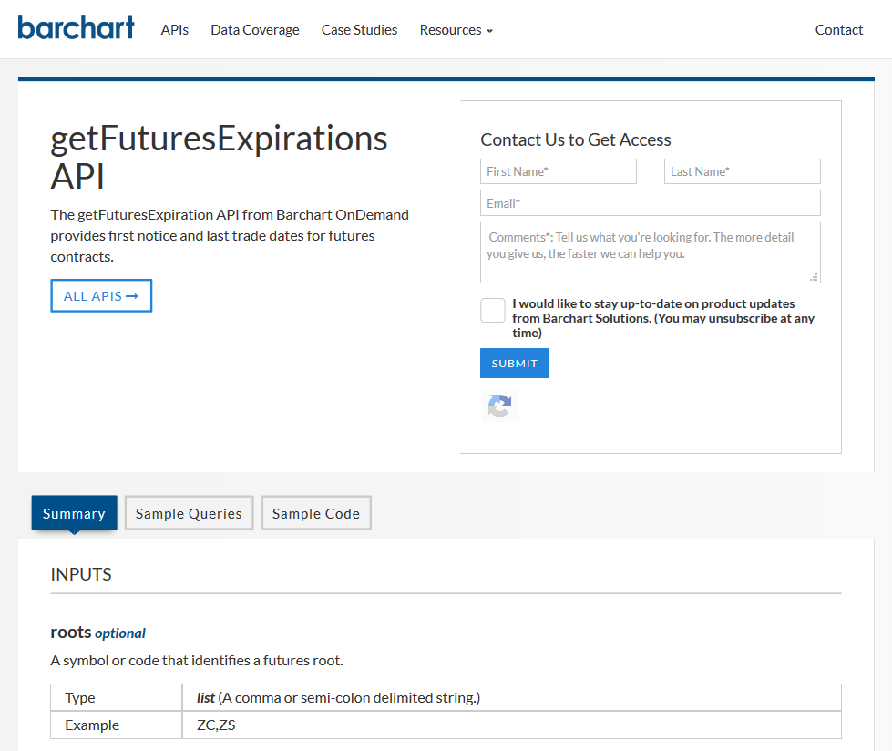 AgriCharts getFuturesExpirations API