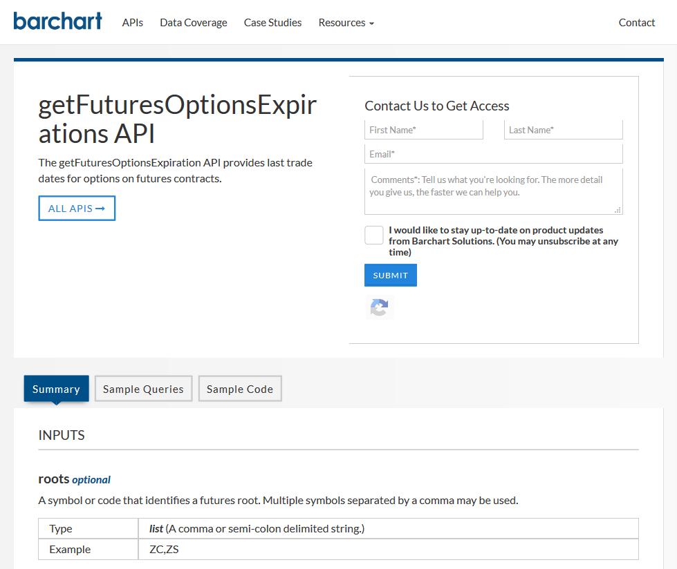 AgriCharts getFuturesOptionsExpirations API