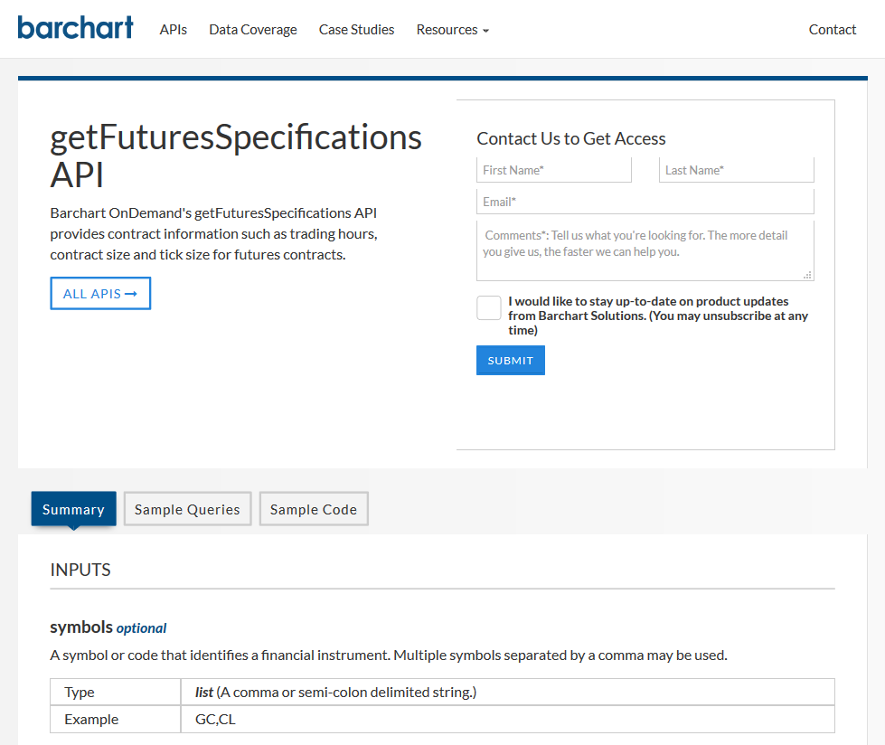 AgriCharts getFuturesSpecifications API