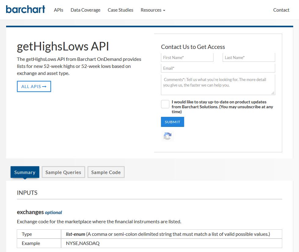 AgriCharts getHighsLows API