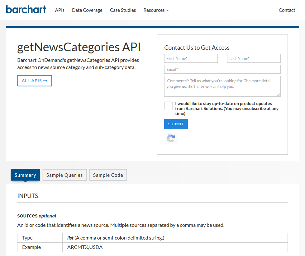 AgriCharts getNewsCategories API