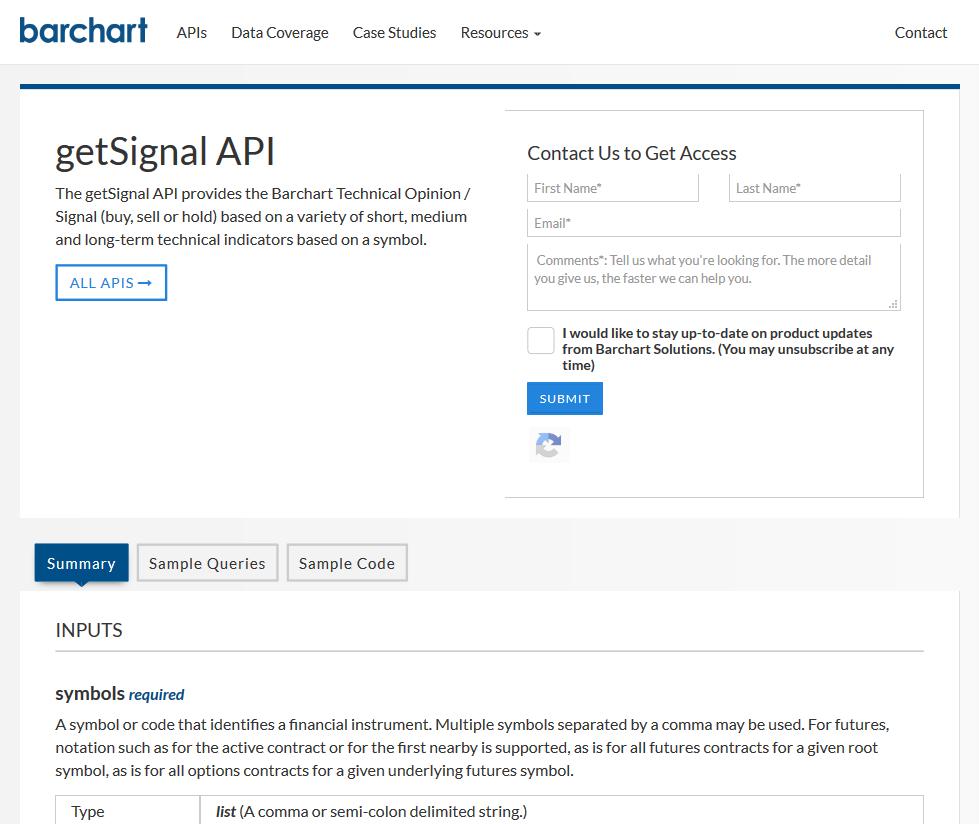 AgriCharts getSignal API