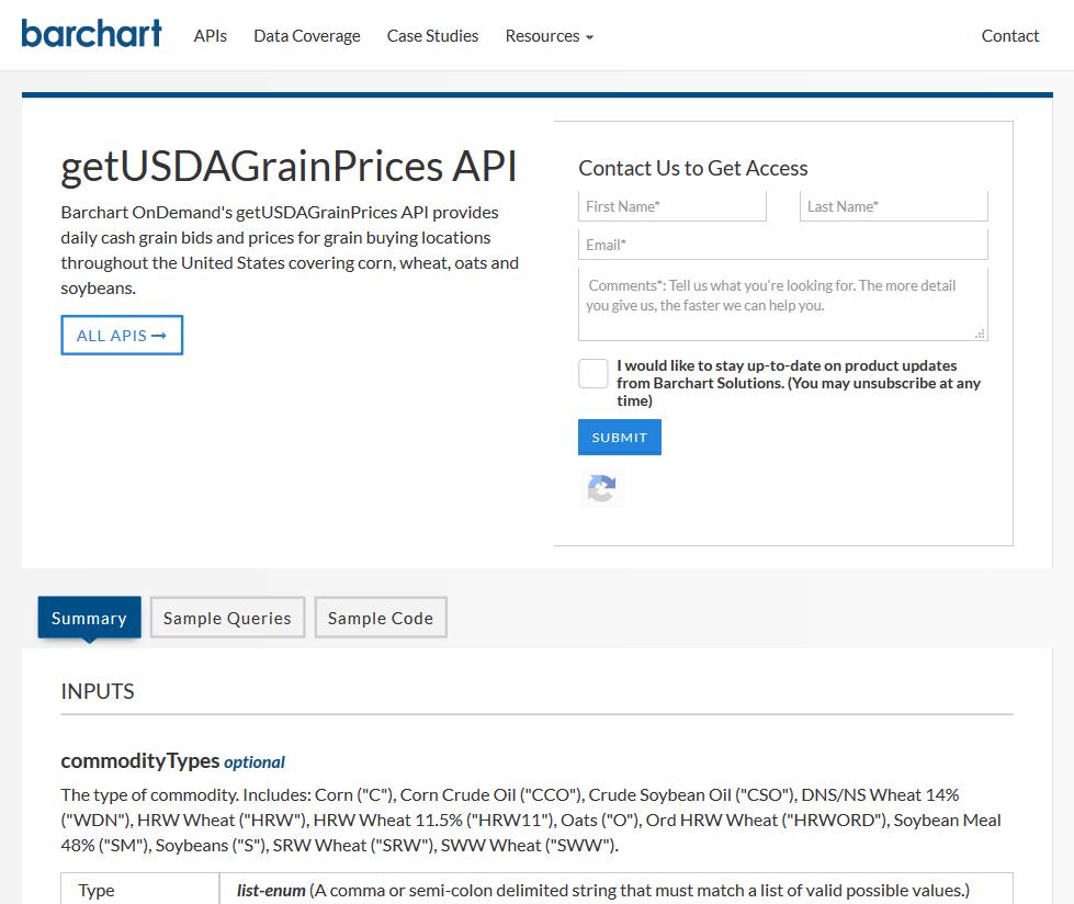 AgriCharts getUSDAGrainPrices API