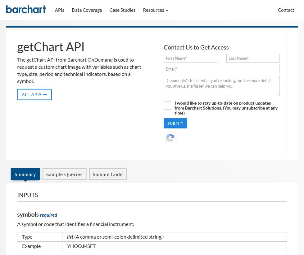 Barchart OnDemand getChart API