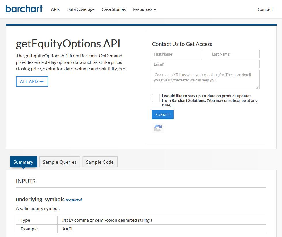 Barchart OnDemand getEquityOptions API