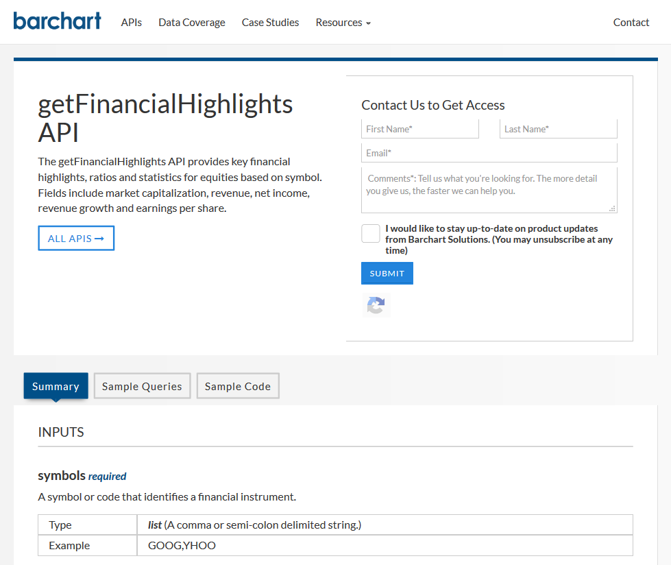 Barchart OnDemand getFinacialHighlights API