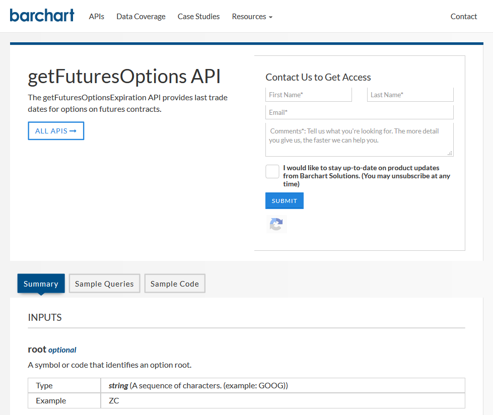Barchart OnDemand getFuturesOptions API