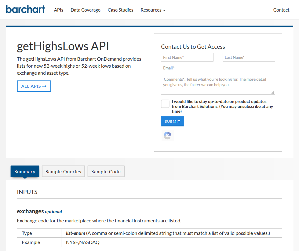 Barchart OnDemand getHighLows API
