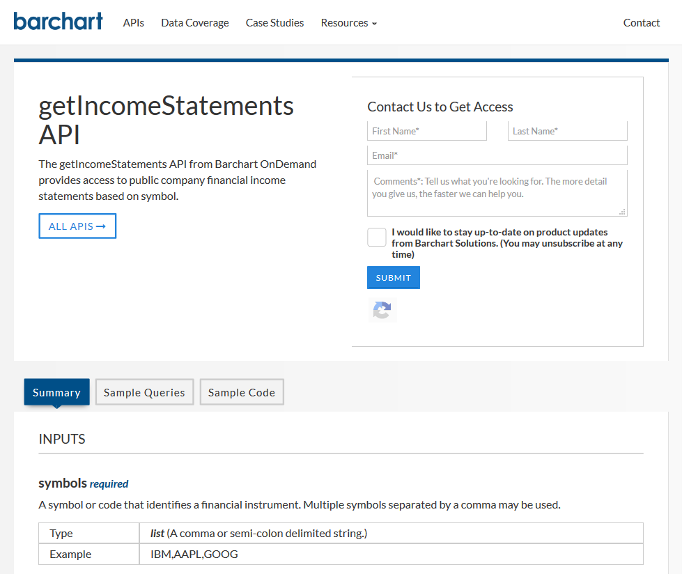 Barchart OnDemand getIncomeStatements API