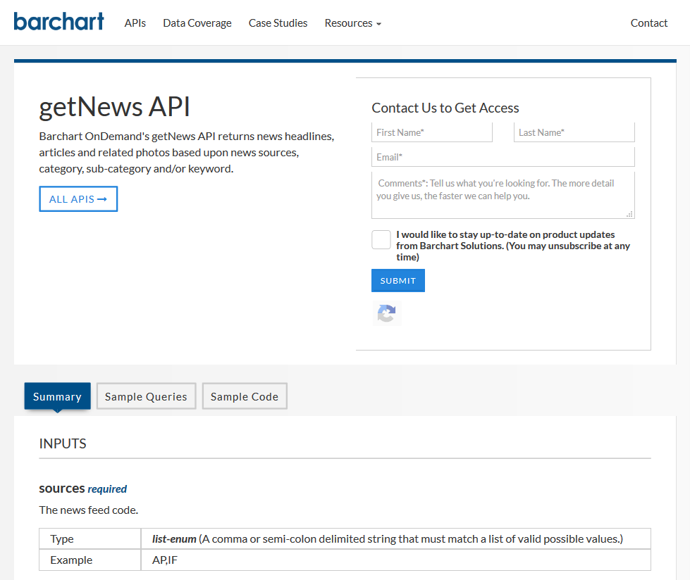 Barchart OnDemand getNews API