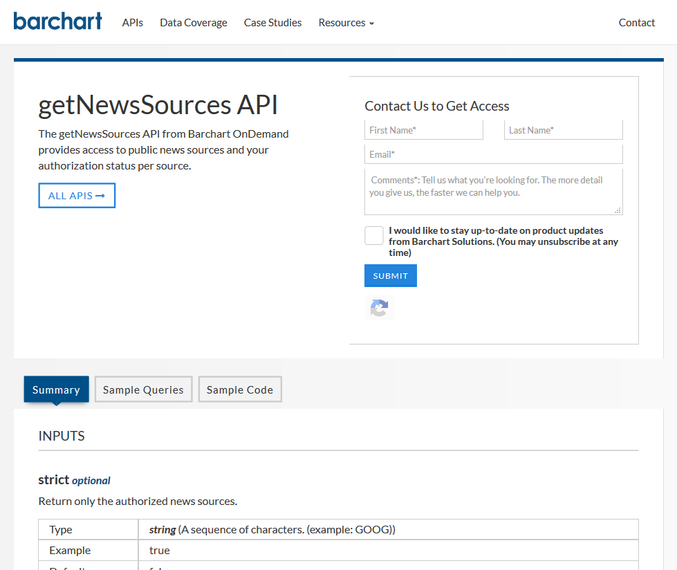 Barchart OnDemand getNewsSource API
