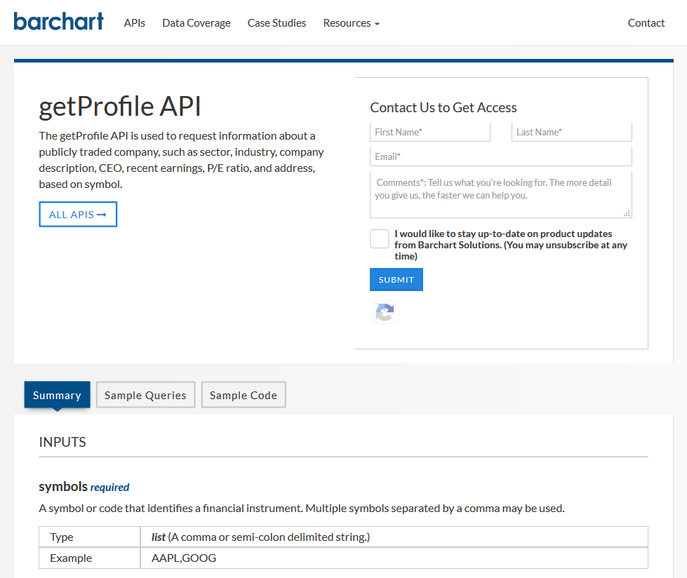 Barchart OnDemand getProfile API