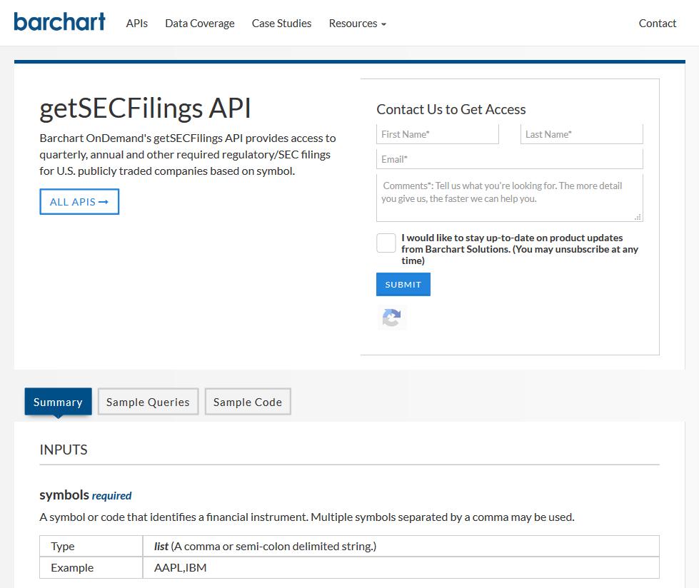 Barchart OnDemand getSECFilings API