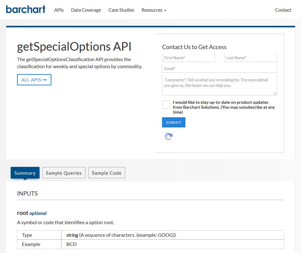 Barchart OnDemand getSpecialOptions API