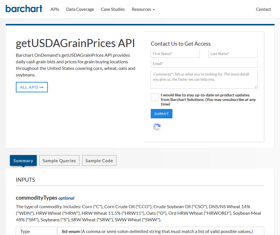 Barchart OnDemand getUSDAGrainPrices API