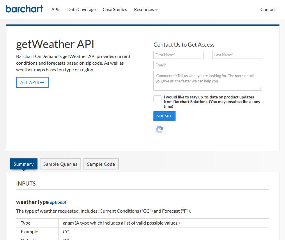 Barchart OnDemand getWeather API