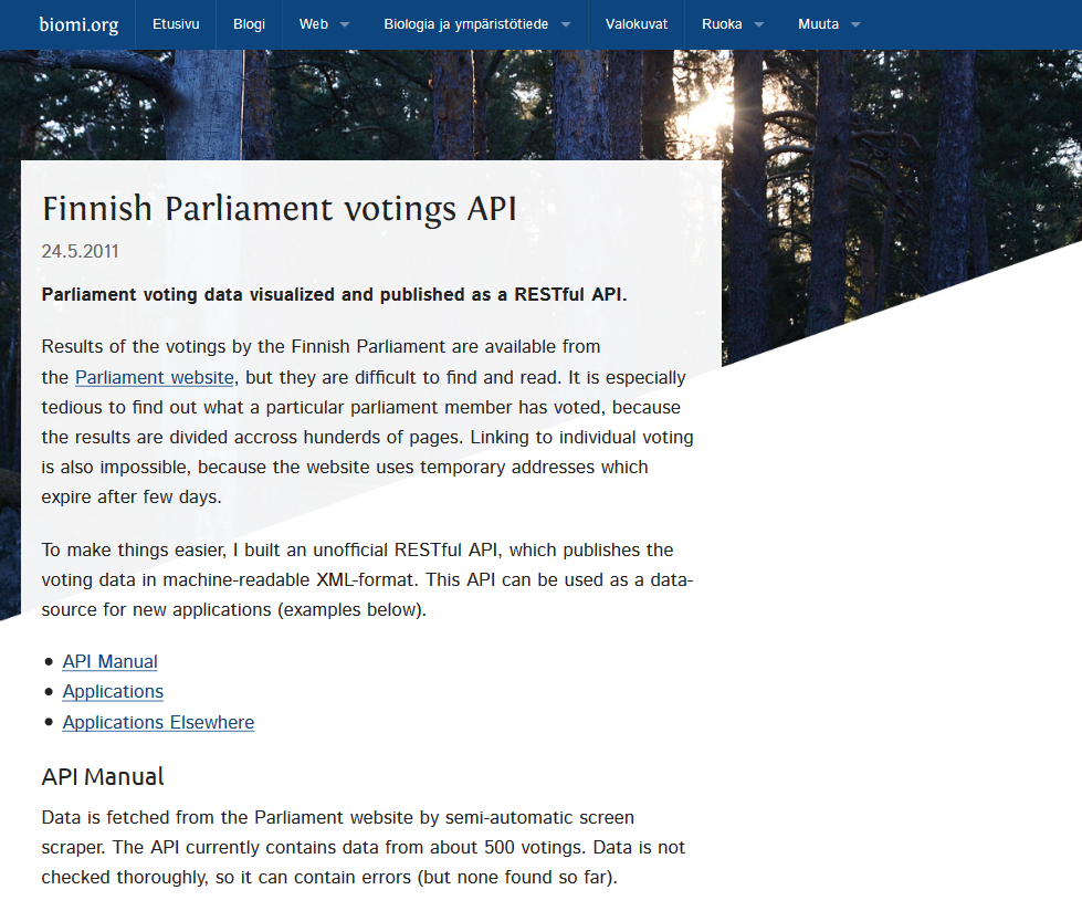 Finnish Parliament Votings API