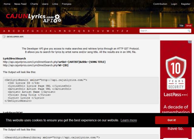 Cajunlyrics API