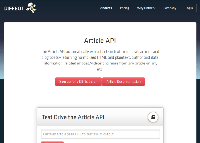 Diffbot Article API