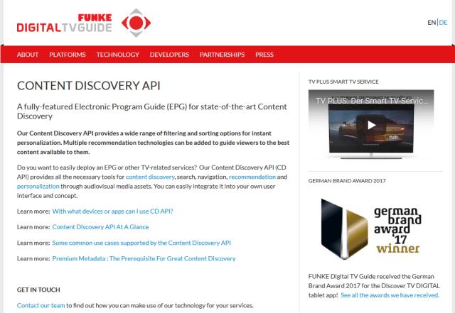 Funke Digital Tv Guide Content Discovery API