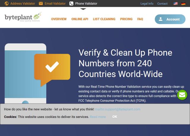 Byteplant Phone Number Verification API