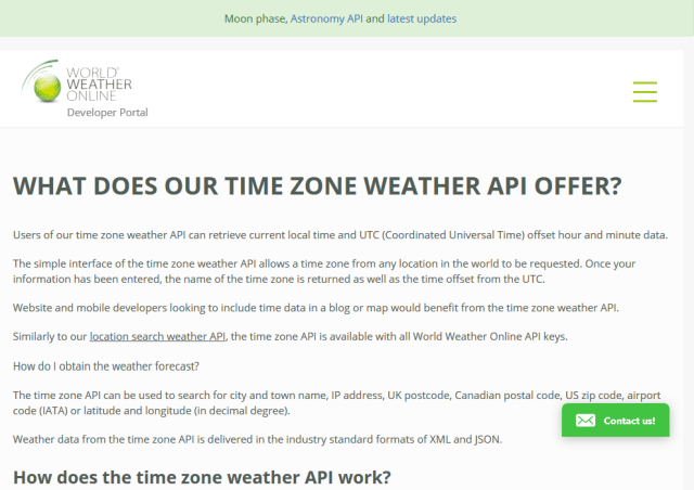 World Weather Online Time Zone API