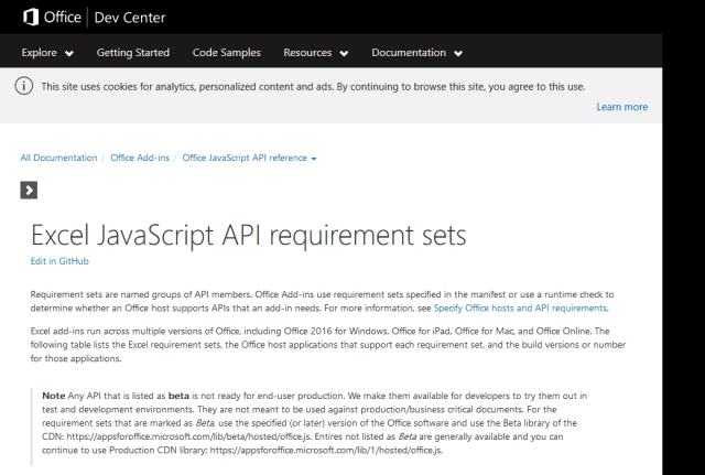 Microsoft Excel Javascript API