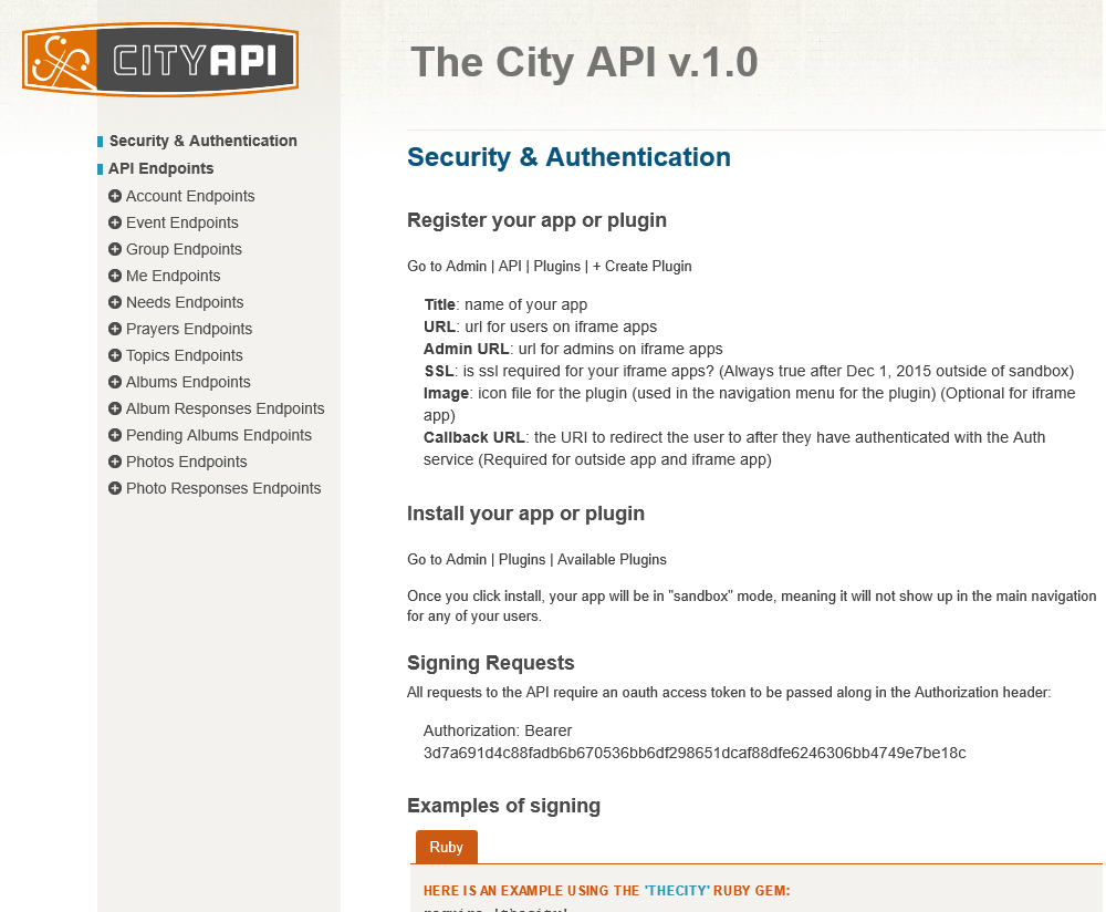 The City API