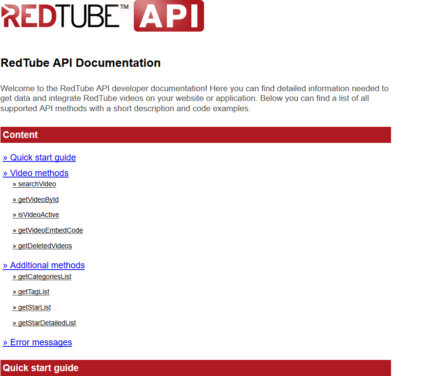 RedTube API